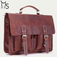 New arrivals Guaranteed 100% Genuine Leather men bag Crazy horsehide Large capacity Men briefcase Vintage Hip hop style