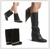 2015 Brand Genuine Leather Boots shoes chain Wedges suede Boots Women Height Increasing Platform Knee high Boot winter autumn