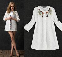 2014 autumn and winter women's coat big yards handmade beaded diamond openwork lace long sleeve windbreaker jacket