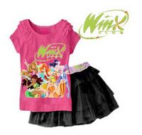 RETAIL 2 COLORS 2014 new Girls Clothing Set T shirt + Skirt 2Pcs Suits Winx Club Cartoon Kids Set Children's clothes