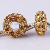 wholesale !!!  fashion colorful Rhinestone Inlay Spacer  Beads suit with the europe charming brecelet