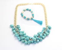 2014 New turquoise  beads gold necklace & bracelet for women jewelry sets