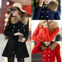 Drop Ship New 2014 Winter Blends Long Winter Coat Outerwear Patchwork Clothes Artificial Fur Collar Women Coat Wool Overcoat