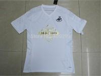 A+++ High Thai quality Swansea Soccer Jerseys 2015 Dyer Routledge Gomis Home White Futbol Camiseta Player Version Embroider Logo