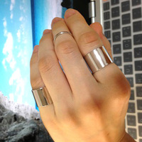 C212 Man Woman Fashion Vintage Heart Jewelry Punk Rock SuperStar Chrome Carved 3 in 1 Finger Rings