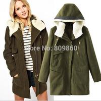 2014 women Super beautiful fashion army green hooded wool coat zipper