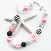 becatiful design girls jewelry necklace lovely pink rose beads necklace 2pcs/lot kids chunky mix colour bubblegum necklace