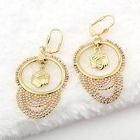 Luxury 18k Multi-tone Gold Filled GF Beads Balls Fringe Chandelier Earrings 61MM Free Shipping