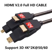New Professional 4K HDMI V2.0 Cable Mini Micro HDMI Male to HDMI Male Cord Full HD Support 3D 2160P 4K*2K