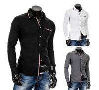 New 2014 Fall Winter Men Shirts Fashion leisure Stripe Wild Slim Men lapel Shirt Free Shipping Promotions