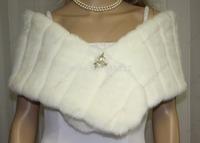 BRIDAL WEDDING MINKY FAUX FAKE FUR WRAP STOLE SHAWL NEW Style AL6721