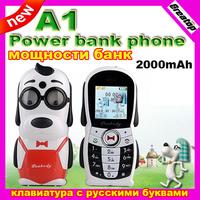 2014 New Mini Cartoon A1 Mobile phone Mr. Peabody dog 2000mAh power bank phone for old man kids Dual Sim GSM bluetooth celphone