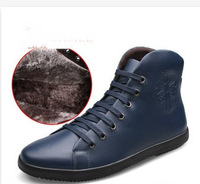 Hot Selling 2014 men's winter boots 38-47 Fashion Genuine leather Warm shoes with fur Men sneakers