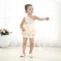 Europe kid baby girls Botique Dress for girl, Cream Color Rose lace chiffon dress for girls, Ribbion blet dresses, 5pcs/lot