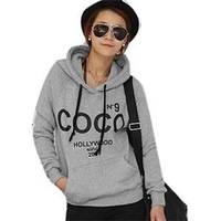 2014 New Casual Lovely Autumn Pockets Long Sleeve Hoodies Women Letter Print Hooded Sweatshirts Women Cotton Hoodies Pullovers