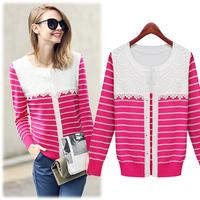 free shipping autuman new arrived 2014  women's knitted striped sweater lace Fashion jackets women women coat