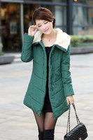 free shipping  New 2014 cotton-padded clothes winter coat thicken Slim female  medium style coat women winter coat 55