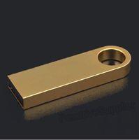 HOT! Wholesale 50pcs lot metal golden key fob custom logo USB Flash drive mini pen drive memory disk 1G 32G