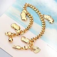 "Charm 18k Gold GF Heart Bell Solid Girls Womens Kids Bracelet Euro Chain 7.09"" Free Shipping"