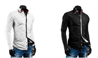 New 2014 Fall Winter Men Shirts Fashion Mixed Colors Men Slim lapel Shirt Free Shipping Promotions White / Black