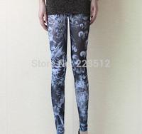 2014 blue and white floral print retro graffiti mesh leggings pantyhose slim nine points