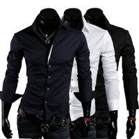 New 2014 Fall Winter Men Shirts british Fashion Pure Color Men Slim Collar Shirt Free Shipping Promotions