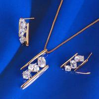 Unique 18k Multi-tone Gold GF Shiny Clear Swarovs Crystal Pendant Earrings Set Free Shipping