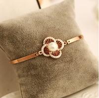 YTSL56 Luxury Brand 18K Real Gold Plated Women Wedding Bracelets Bangles Rose Flower Crystal Pearl Delicate Cuff Chain Bracelet
