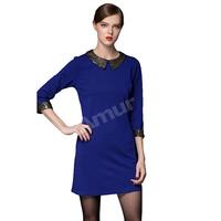 Amur Autumn Women's Straight Mini Casual Winter Dress Peter pan collar Three Quarter Sleeve Blue/Black  Plus size