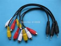 5 pcs Mini AV 2.5mm Plug to 3 Color RCA Female Adapter Audio Video Cable 28cm(11inch)