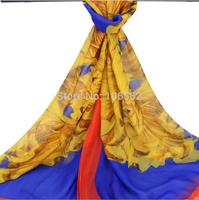 2pcs 2014 fall fashion for women print Imitated Silk foulard bandana Scarf Rural Scarves Wrap Shawl 110*180cm cachecol feminino