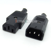 1pair For DIY Handmade Power Cable 3 ports Male Female 110-250V/10A set Adapter LN004406