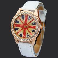 Fashion White Britain UK Flag Crystal Diamond Leather Ladies Girls Women Quartz Bracelet Wrist Watches, Free & Drop Shipping