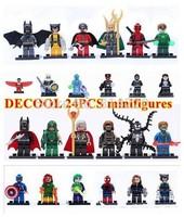 24pcs decool Super Heroes Avengers marvel minifigures redskull green arrow deadpool Constructions building block DIY Toys