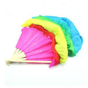 MO Holiday Sale Pretty New Colorful Belly Dancing Fans Women Girls Simulation Silk Bamboo Long Veils Fans for Women Hand Made(China (Mainland))