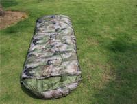 Digital camouflage camping camp tent sleeping bags envelope sleep  bag with hood 1.1kg specials,210x75cm