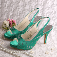 (15 Colors)Custom Crystalized Crystals Women Designer Shoes Sandals Wedding Party Green Free Shipping