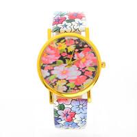 New Stylish Women Dress Watch GENEVA Rose Flower Watches Printed leather strap casual Quartz Watches orologio da polso JW1771