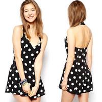 Womens Sexy Dress Sleeveless Bodycon  Mini Dress Polka Dot Paty Cocktai Dresses S-XL Free&Drop Shipping
