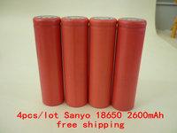 4pcs/lot Original 18650 ICR18650- 2600mAh Li-ion 3.7v Battery For Sanyo +Free Shipping