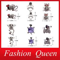 3d Alloy Nail Art,10pcs/lot Crown Animal Mixed Design Charm Glitter Nail Beauty Jewelry Accessories,Rhinestone Nail Decorations