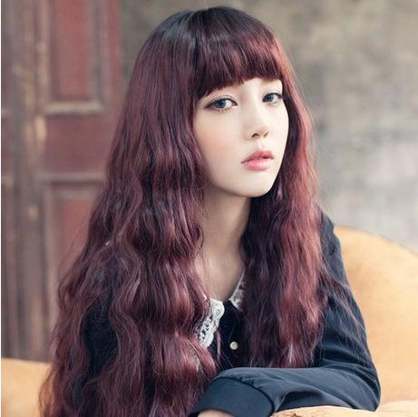 Fashion girls long curly hair wig repair face fluffy corn perm wig Free shopping(China (Mainland))