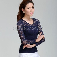 New fall women dress lace stitching base shirt long sleeve t-shirt pullover crew neck dress jacket casual 8603