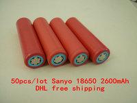 50pcs DHL free shipping  Original 18650 ICR18650- 2600mAh Li-ion 3.7v Battery For Sanyo