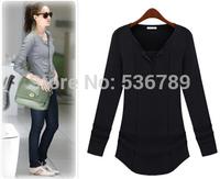 new 2014 autumn winter women knitted sweater shirts casual v neck long sleeve slim sheer t-shirt fashion female basic shirt