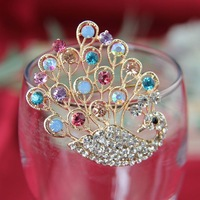 free shipping Golden plated multi-colored peacock with rhinestone feather sparkly brooch with pin, 6pcs/lot. item no.: BH7711