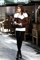 New 2013 Brand Fur One Piece Leather winter women coat Turn-Down Collar Fur One Piece Women'S Outerwear Fur