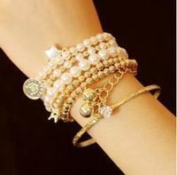 Wholesale Fashion Bracelets Sets Multi-level Elements Pearl Bracelets Women Bracelet Sets SAB029
