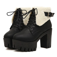 2014 Autumn /Winter Boots Keep Warm Martin Boots Women Vintage High Heel Platform Ankle Boots Lace Up PU Leather Boots SRXZ5027