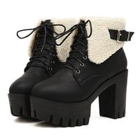2014 Autumn /Winter Boots Keep Warm Martin Boots Women Vintage High Heel Platform Ankle Boots Lace Up PU Leather Boots SRXZ5027